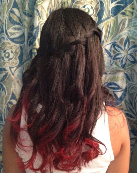 Red Dip Dye And Waterfall Braid Hair Hair Dyed Red Hair