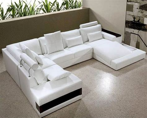 Contemporary Leather Sectional Sofas by Contemporary White Leather Sectional Sofa Set 44l0692hl