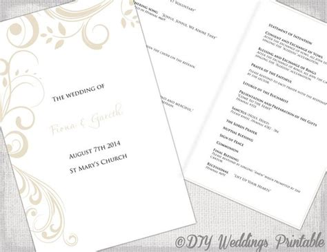 Catholic Wedding Program Template Champagne Scroll