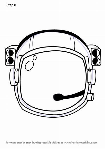 Helmet Draw Step Astronaut Drawing Tutorials Astronauts