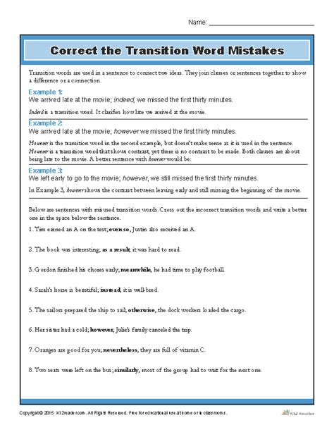 correct the transition word mistakes printable writing