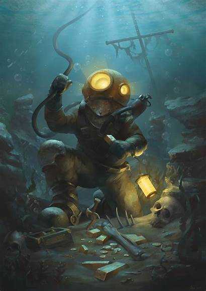 Underwater Sea Drawing Diver Deep Scuba Diving