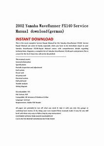 2002 Yamaha Waverunner Fx140 Service Manual Download German By Hgsehn