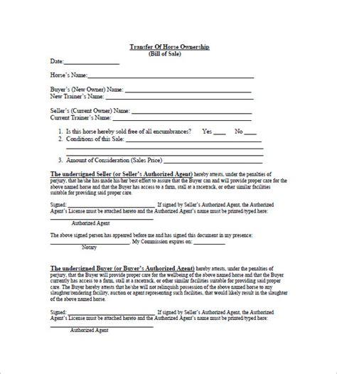 horse bill  sale   sample  format