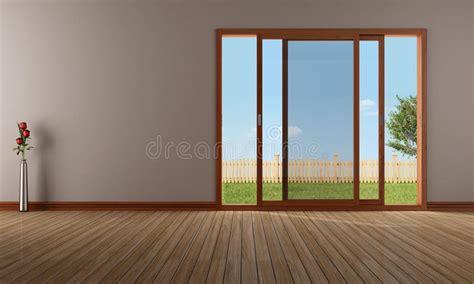 Empty Living Room With Open Sliding Window Stock