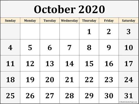 october blank calendar collection