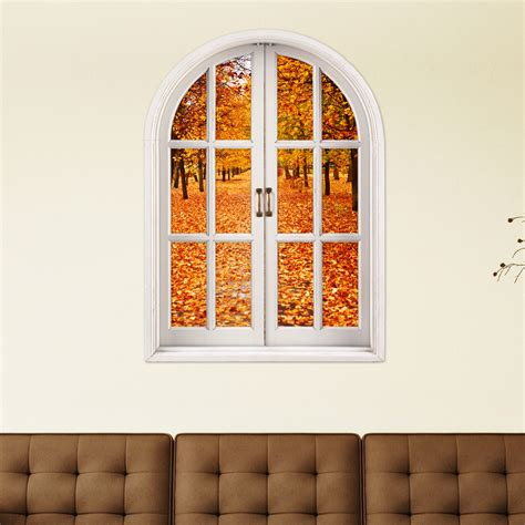 home decor stickers autumn leaves 3d artificial window view 3d wall decals