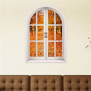 Autumn Leaves 3D Artificial Window View 3D Wall Decals ...