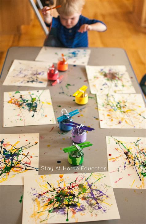 painting with yarn process activity for toddlers 906 | Painting with yarn process art activity for toddlers and preschoolers too