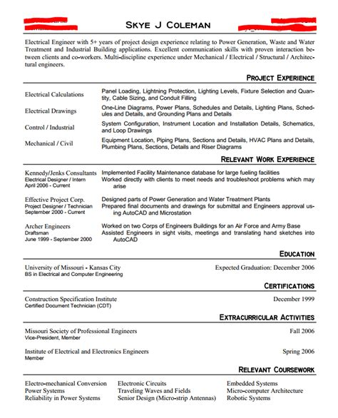 Undergraduate Electrical Engineering Resume by Cv Format For Mechanical Engineers