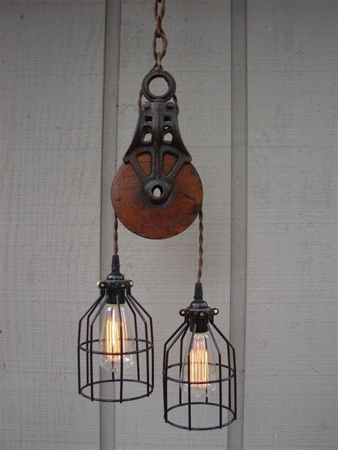 industrial pulley pendant lighting ideas for traditional