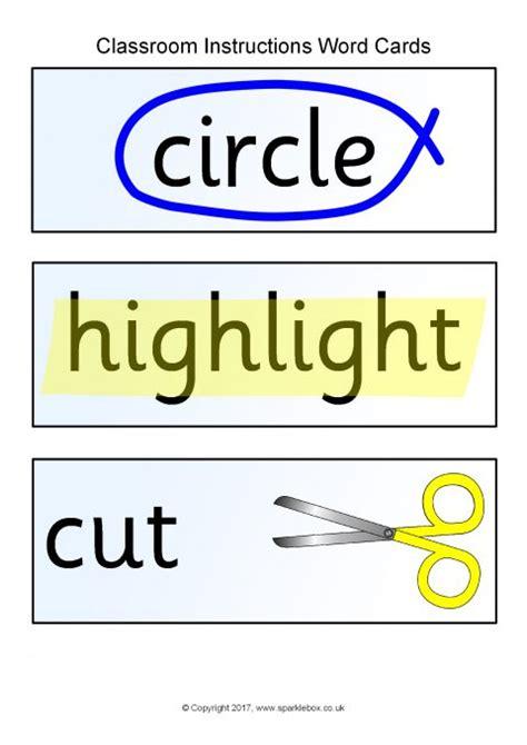 classroom instructions word cards sb sparklebox