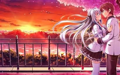 Anime Romantic Couple Kissing Romance Wallpapersafari Pixhome