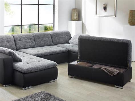Sofa, Couch Ferun 365x200185cm Mit Hocker, Anthrazit