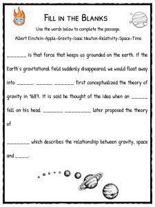 gravity worksheets for geersc