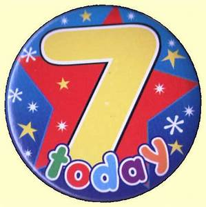 7th Birthday Badge Star   Party Wizard