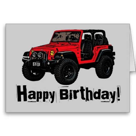 Happy Birthday Red Jeep Wrangler Greeting Card
