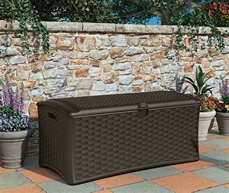 suncast dbw7000 resin wicker deck box 72 gallon dealtrend