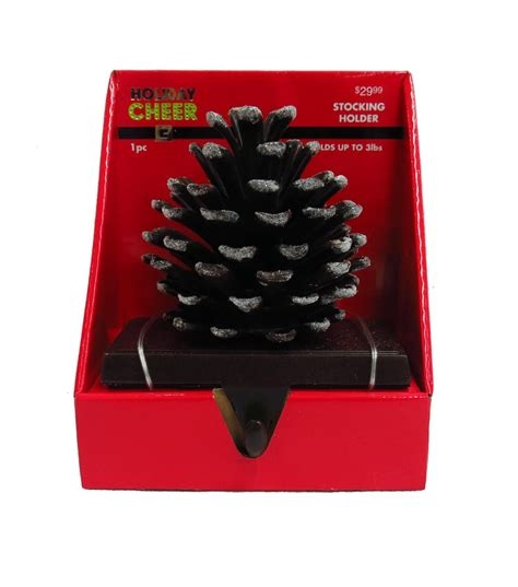 pinecone stocking holder cheer bronze frosted pinecone holder jo