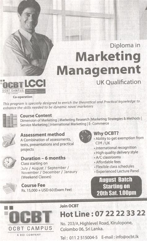 diploma of marketing diploma in marketing management by ocbt cus synergyy