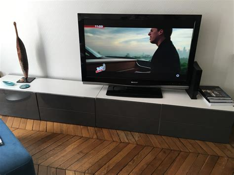 Besta Tiroir Best Banc Tv Avec Portes Et Tiroirs Blanc
