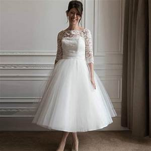 white lace short cheap half sleeve wedding dresses scoop With mid calf wedding dresses