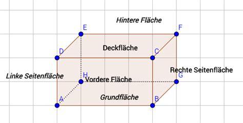 quader flaeche und volumen berechnen