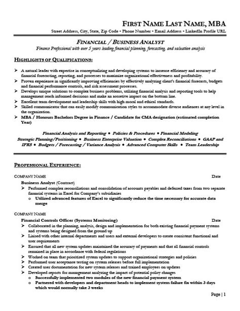 Project Financial Analyst Resume by Financial Analyst Resume Template Premium Resume Sles Exle