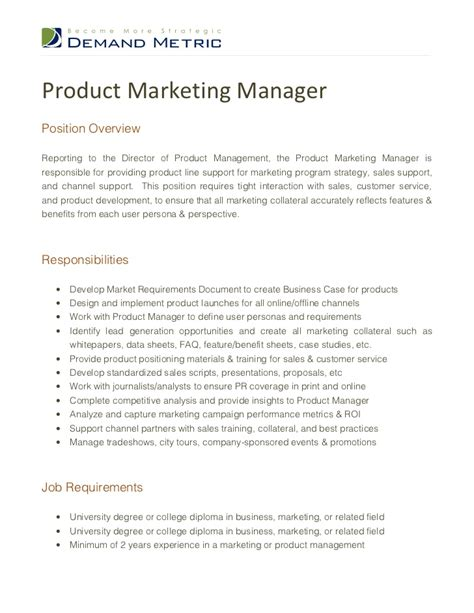 Marketing Manager Resume Description product marketing manager description