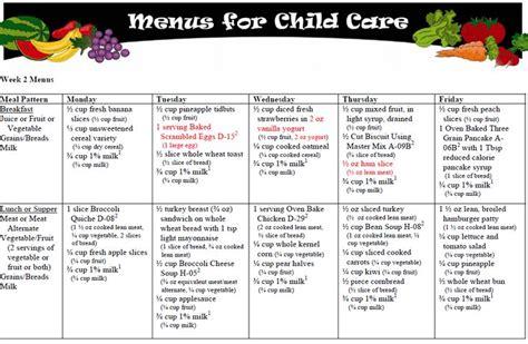 Menus For Children  Child Care Pinterest