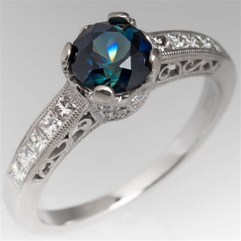 No Heat Rich Blue Green Sapphire Engagement Ring 18k White. Stretch Mark Rings. Twisted Engagement Rings. Ravi Name Engagement Rings. Different Color Wedding Rings. Purple Square Wedding Rings. Daisy Rings. Birthstone Wedding Rings. Oversized Rings