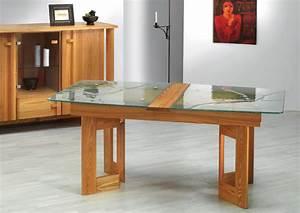 Table Verre Bois : table rectangulaire verre et bois pied eole ~ Teatrodelosmanantiales.com Idées de Décoration