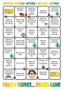 Name Four Things Board Game worksheet