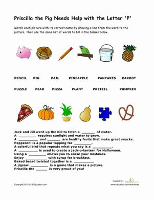 words that begin with quot p quot worksheet education 122 | words sight words phonics first