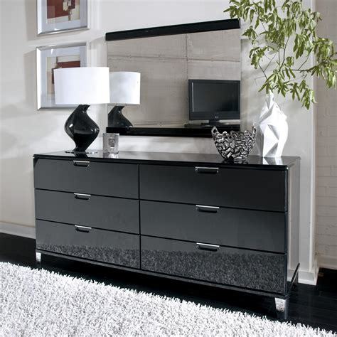 black and white dresser bedroom design with black painted mirrored dresser
