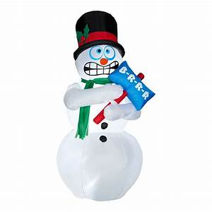 Animated Inflatable Shivering Snowman - The Green Head