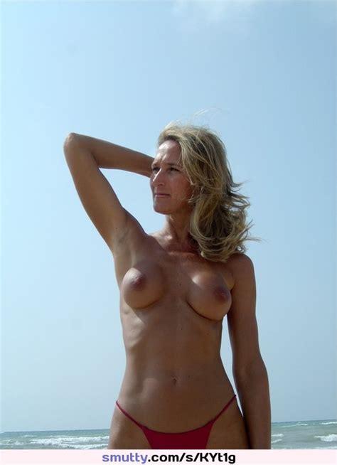 Blonde Milf Housewife Beach Vacation Topless Bikini