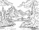 Ross Bob Coloring Drawing Outline Mountain Crazy Pages Official Paintings Adult Painting Trees Printable Landscapes Forest Scenery Valley Landscape Adults sketch template