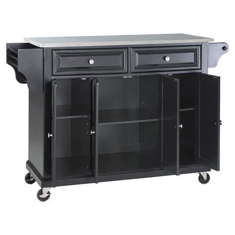 black kitchen island cart stainless steel top kitchen cart island casters black 4705
