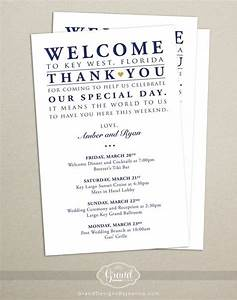 itinerary cards for wedding hotel welcome bag printed With destination wedding welcome letter wording