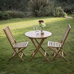 emejing salon de jardin en teck pliable photos awesome With table ronde avec chaises