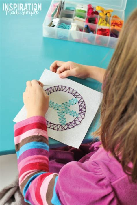 easy kids stitched string art idea inspiration  simple