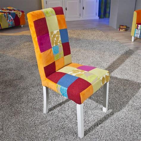 2 chaises de cuisine salle 224 manger design en bois massif et tissu multicolore achat vente