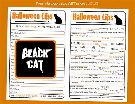 fun kids halloween game halloween mad libs middle school