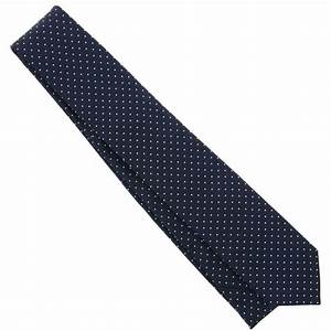 Navy Blue Tie with White Mini Dots - Blue Tie - The House ...