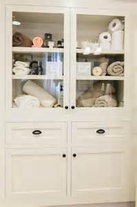 built in linen cabinet transitional bathroom redbud