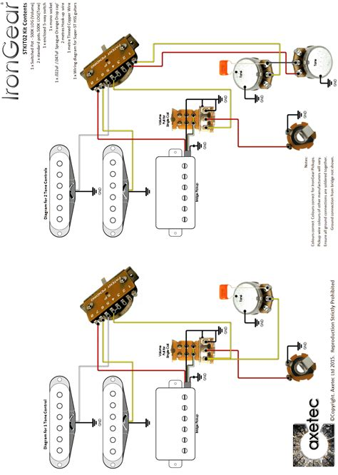 Capacitor Wiring Diagram For Guitar by Guitar Wiring Kits By Axetec Wiring Kits For Strat
