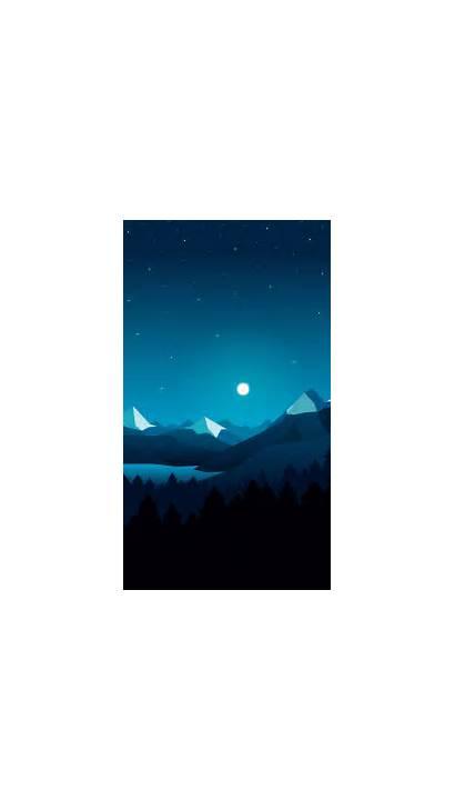 Night Iphone Digital Moon Mountains Stars Phone