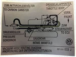 Golf Mk2 Autocollant  Tuyau D U0026 39 Aspiration D U0026 39 Acheminement