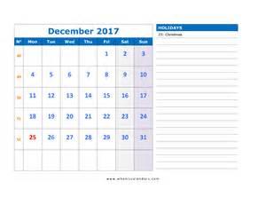 December 2017 Calendar with Holidays Printable